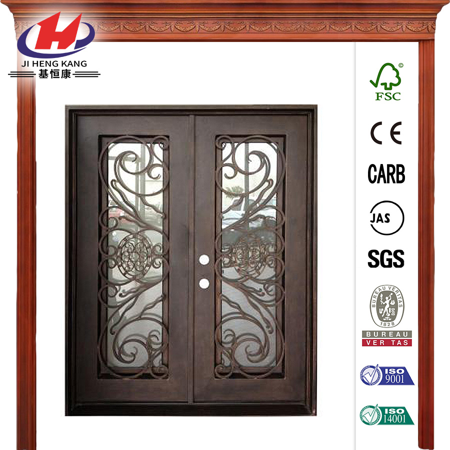 36 in. x 84 in. Copper Right-Hand Inswing Wrought Iron Double Straight Top Prehung Front Door