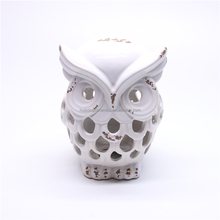 Harvest caved spalling owl ceramic led lantern