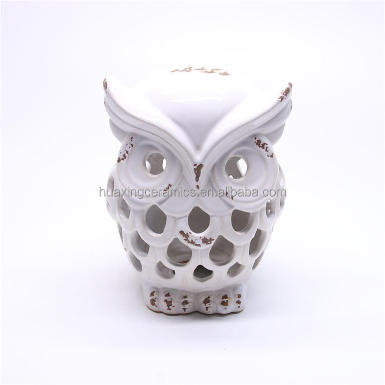 Harvest hollow out spalling owl lantern light candle holder LED ceramic lantern,candlestick