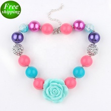 High quality dressed up chunky necklace beadings sweet flower plastic baby girl necklace FREE SHIP