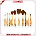 2017 Amazon hot selling product top quality 10pcs gold oval toothbrush makeup brush set