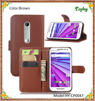 Brown Litchi Pattern Wallet Card Stand Cover Holster Phone Sets Magnetic Flip Folio Case For Motorola G3