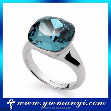 Trade Assurance Supplier Natural Round Beautiful Blue Crystal Blue Stone Ring With Wholesale Fashion Jewelry R0389