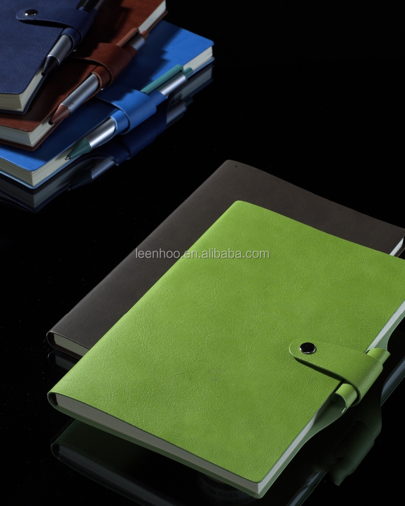 Top quality pu leather custom notebook with penholder for wholesale