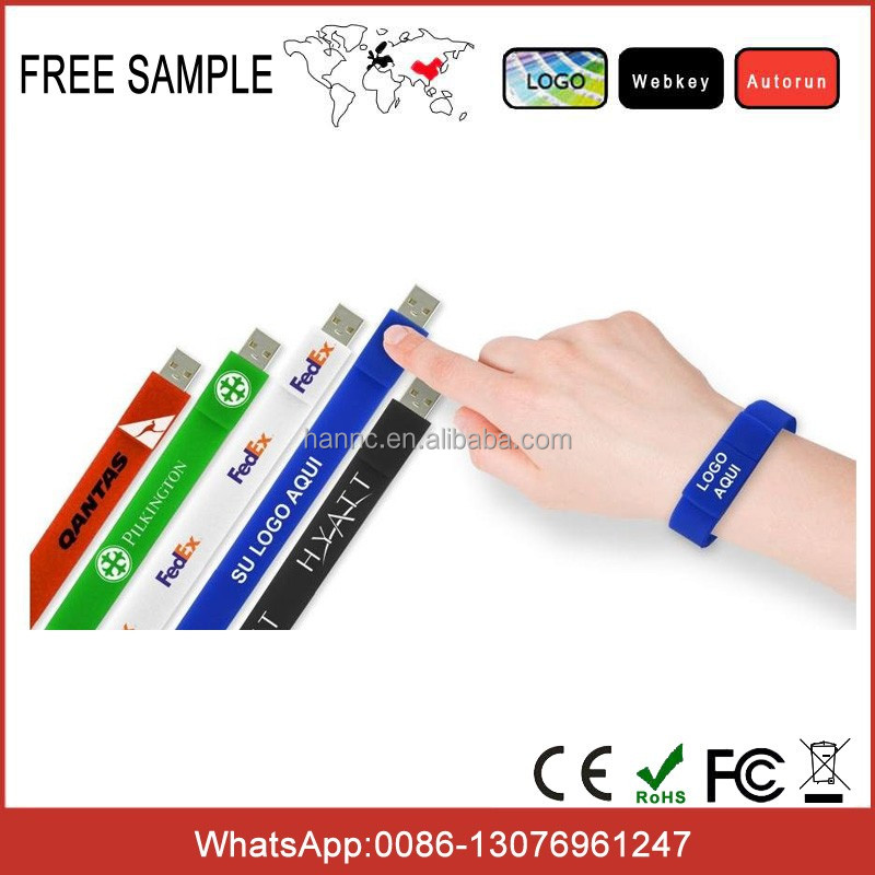 Customized wristband usb flash drives memory stick waterproof silicone usb bracelet