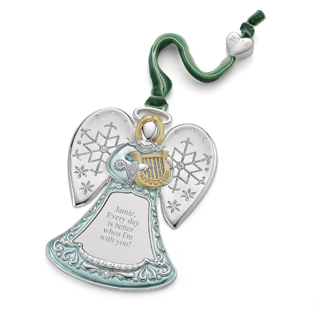 Collection personalized angel christmas ornaments pictures for Custom engraved christmas ornaments