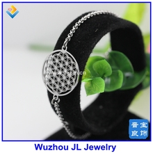 Factory new arrival stainless steel metal cheap silver color flower of life bracelet