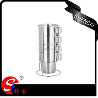 guangdong hardware cups and mugs/ 5pcs blank coffee mug set with metal rack