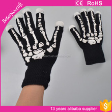2016 Cheapest Halloween Gift glowing skull led gloves for party gifts