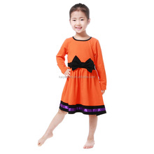 Baby girl long sleeve cotton beautiful party dress with exquisite bowknot design