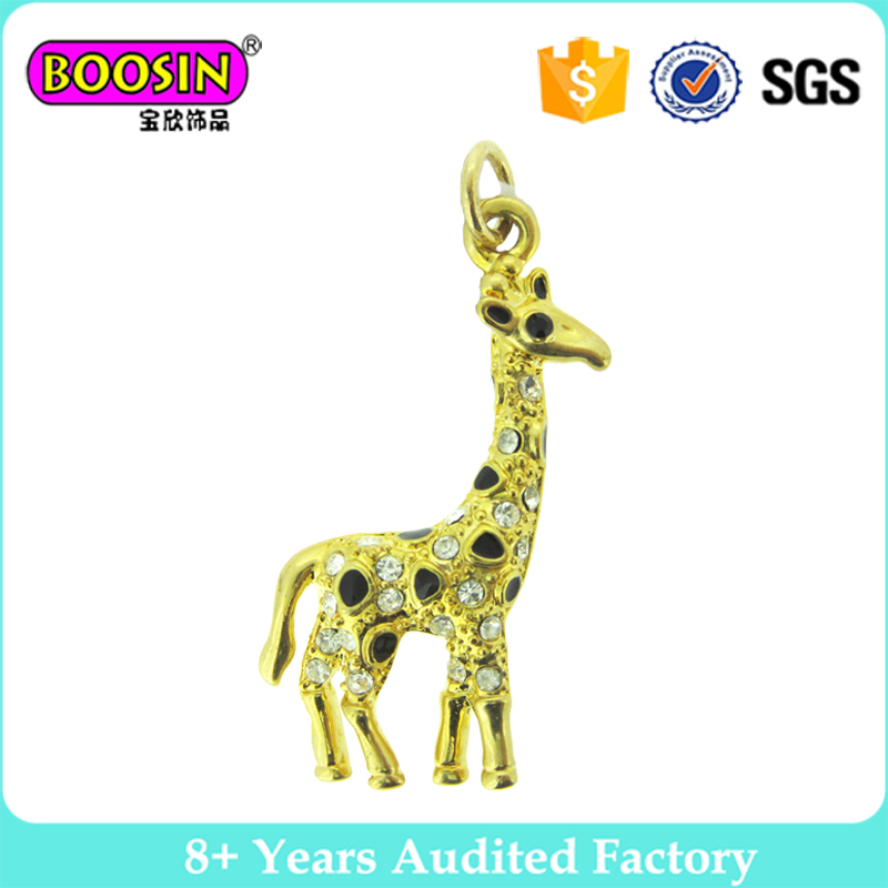 3D design animal deer crystal charms, 18k gold jewelry for wholesale