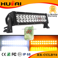 "Mutil-color PC Lens White Amber Lamp Color Warning Flash Strobe LED Light Bar 72w 13"" LED Bar Light"