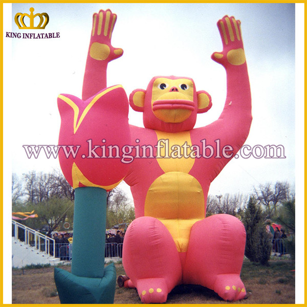 Most popular pink giant monkey king animal inflatable air blower monkey