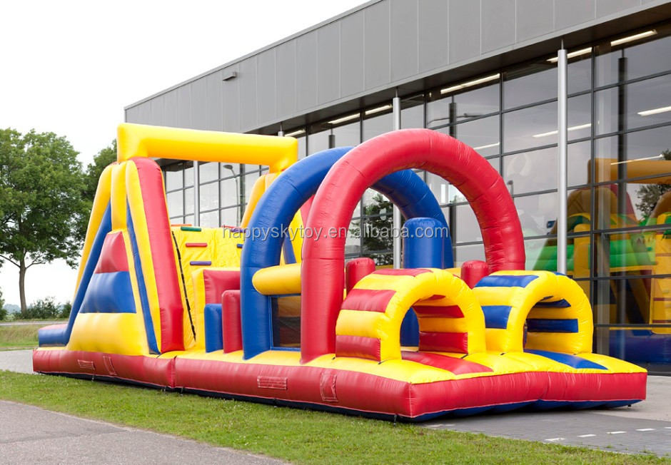 Top fun outdoor games run and jump inflatable water obstacle course,maze obstacle for pool and playground
