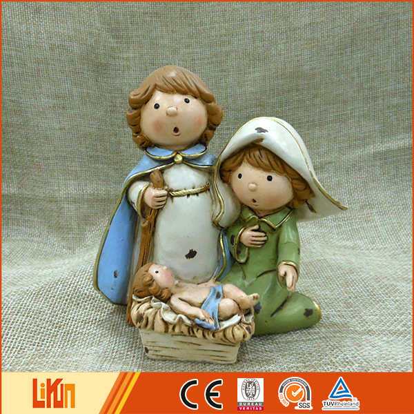 High quality colorful painted art indoor decoration resin figures nativity set