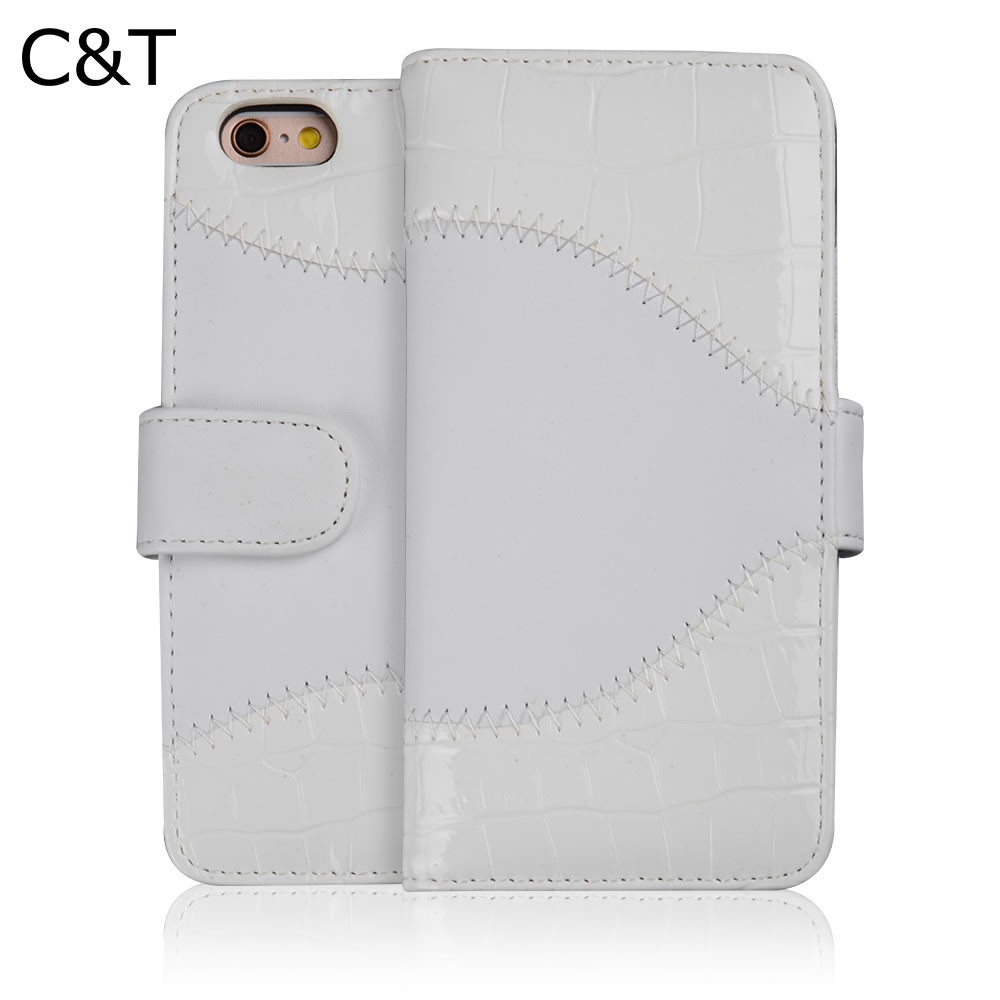 "C&T Foldable Kickstand Stand Leather Flip Wallet Case for Iphone 6 6S 4.7"" Inch"