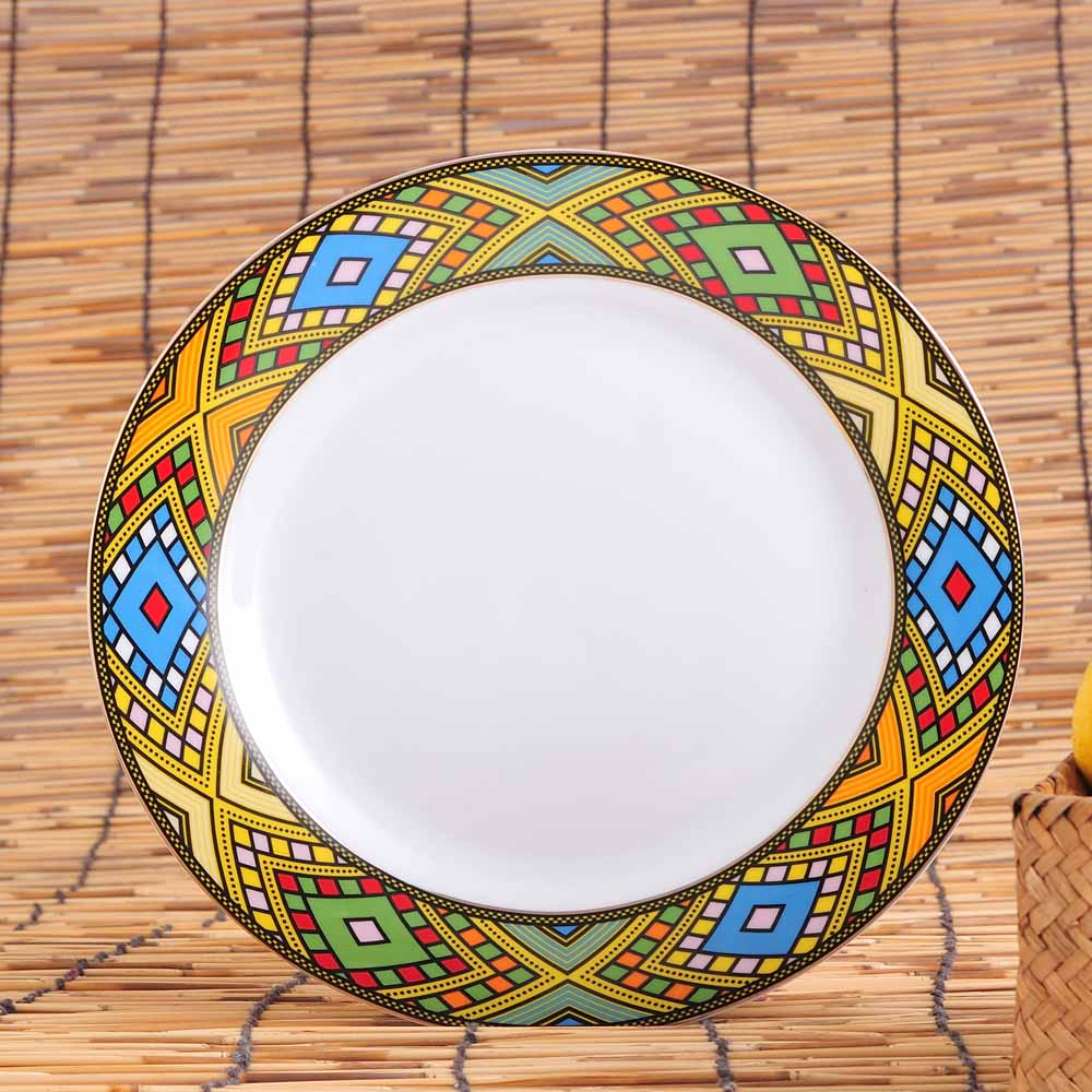 Porcelain dinner <strong>plate</strong> with ethiopian design tilet