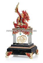 RORO Trachinoid Golden Age dragon enamel crystal glass decorative stamp for office use / business gift