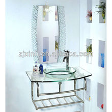High Quality Tempered Bathroom Glass Basin, Transparent Glass with Stainless Steel Holder