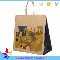 Customized made cheap christmas brown paper gift bag