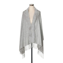 QD27905 Cheap High Quality Classical Styles Women tassles rabbit fur trim real Cashmere pashmina Shawl