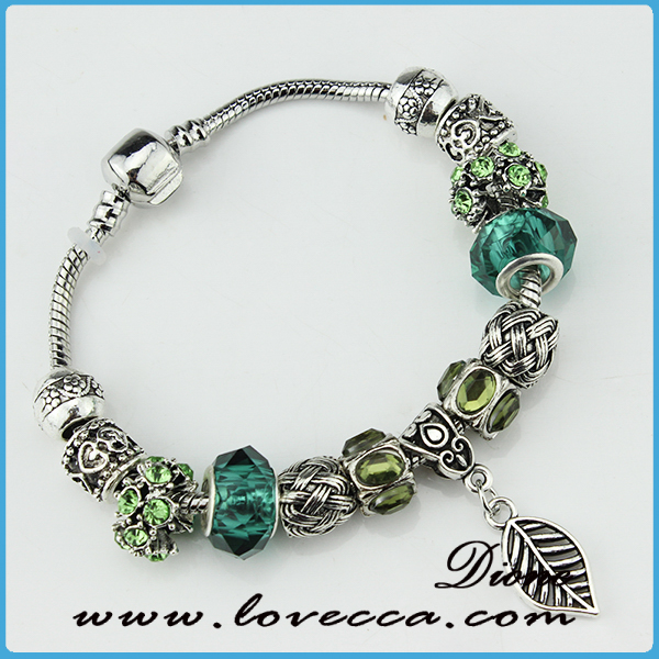2016 Summer Silver Plated Green Murano Glass Bead Charm Bracelet