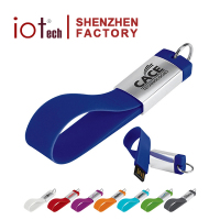 Free Sample Colorful Silicone Material Lanyard Flash Drive USB with Key Ring