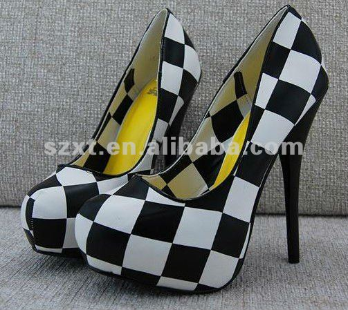 Sexy 2012 12 cm high heels tartan PU ladies high platform shoes wholesale