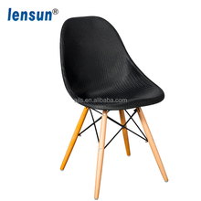 Cheap Popular Dining Chairs Of Plastic With Wood Legs