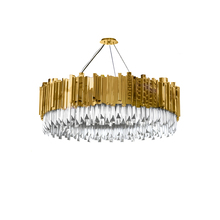 modern gold plated round iron chandelier crystals led pendant light for home deco