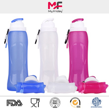 Portable lightweight flexible bpa free silicone water bottle push pull top