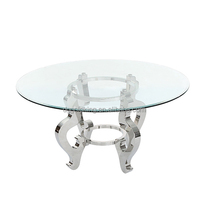 Dining Table,Stainless Steel Base Design with Glass Top