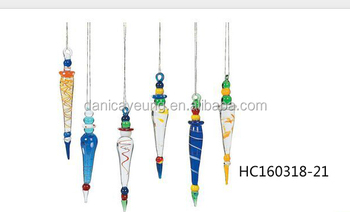 Christmas Ornament Glass Icicle, Multi Color