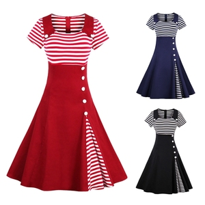 Women Vintage Striped Buttoned Pin Up Dress Summer Retro Party Evening  Elegant Rockabilly 1950s Swing Dresses Plus Size