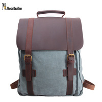 Soft Candy Candy Blue Color Canvas Day Rucksack Backpack for School Girls with Leather Flap 1820