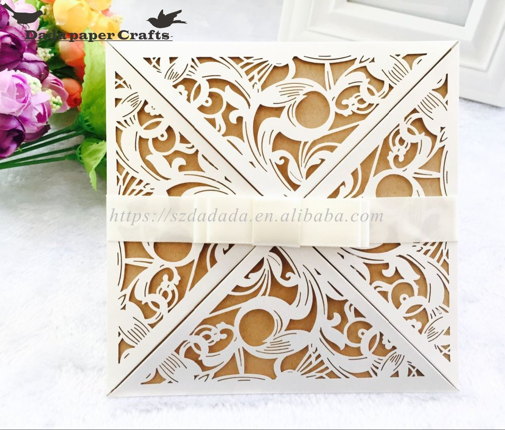 HK11 3D print Four In One invitation wedding card invitation card paper hollow school invitation card