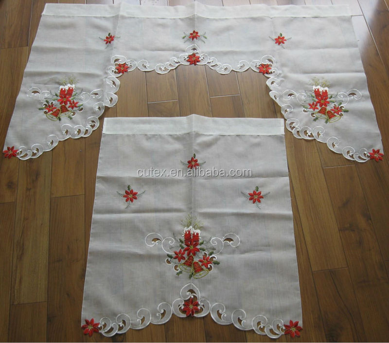 christmas candle embroidered kitchen curtain wholesales