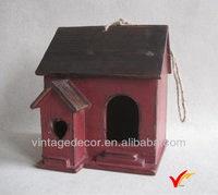Red Hanging Shabby Chic Fire Wood Garden Decorated Bird House