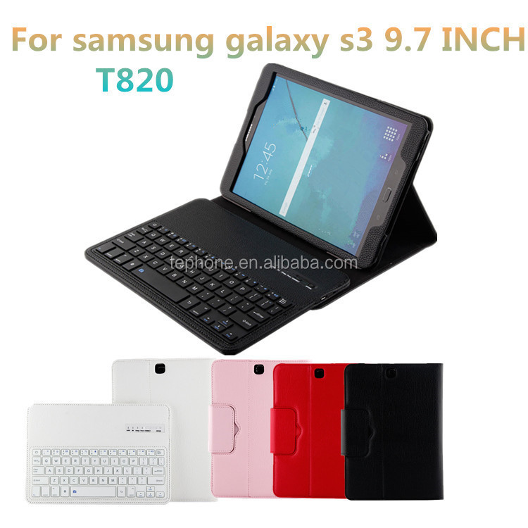 9.7 Inch Wireless Blue Tooth Keyboard With PU Leather Folio Case Cover For Samsung Tab S3 T820