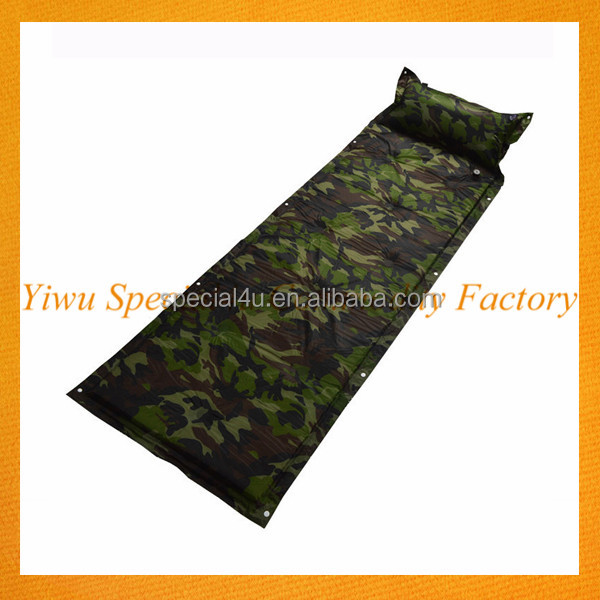 Factory great quality outdoor camping self inflatable air pad sleeping pad with pillow inflatable camping mat SPEC-027