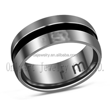 charming jewelry black plating men's ring comfort fit stainless steel ring