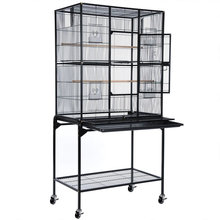 Bird Parrot Cage With Separate Cage Stand Chinchilla Sugar Glider Cockatiel Supplies Color Hammer Tone Black