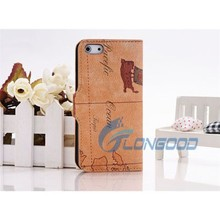 World Map Pattern Horizontal Button Leather Case with Holder Mobile Flip Cover for iPhone 5 5G