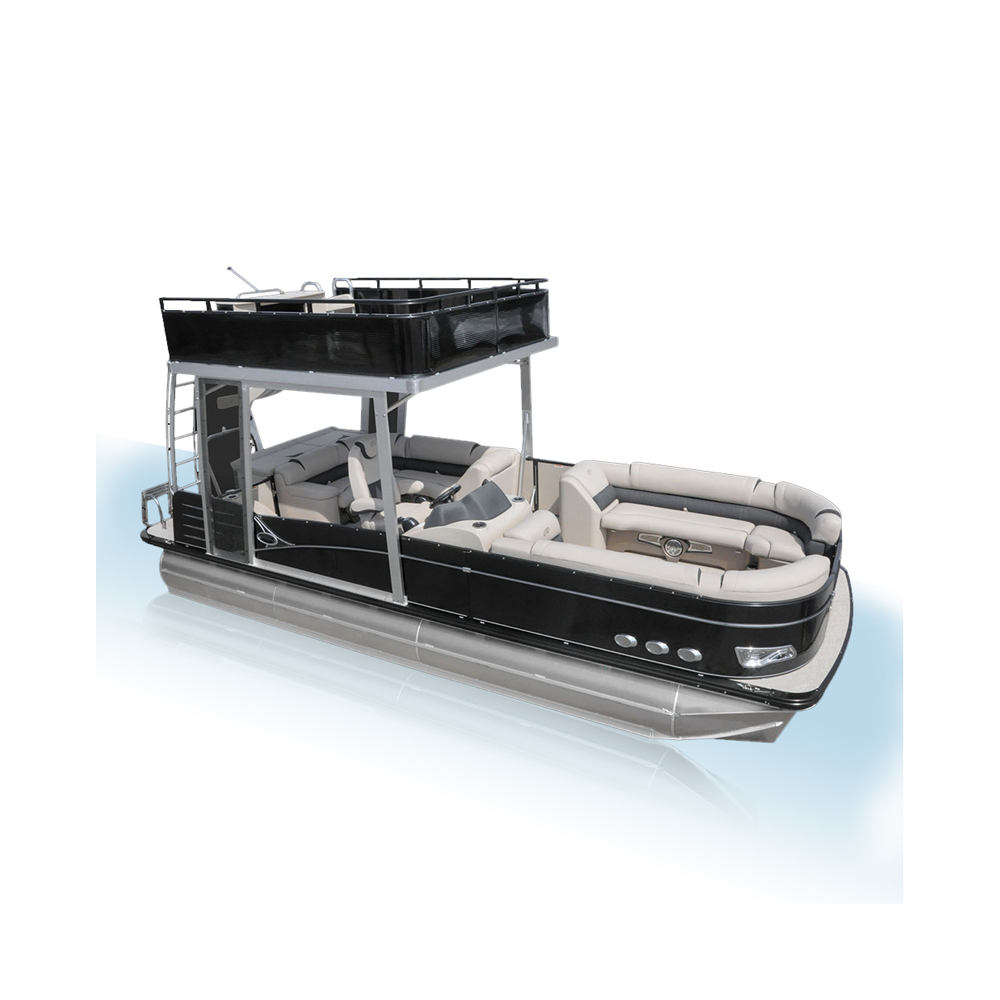 Luxury Double Decker Aluminum Pontoon <strong>Boat</strong> with slide