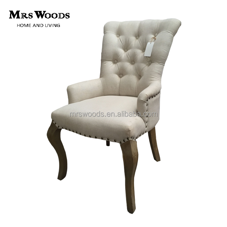 <strong>antique</strong> wing back and tufted design fabric dining chair with button