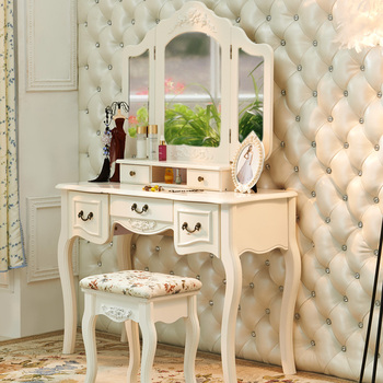 W-HY-078 wooden wardrobe folding mirrors dressing table with stool