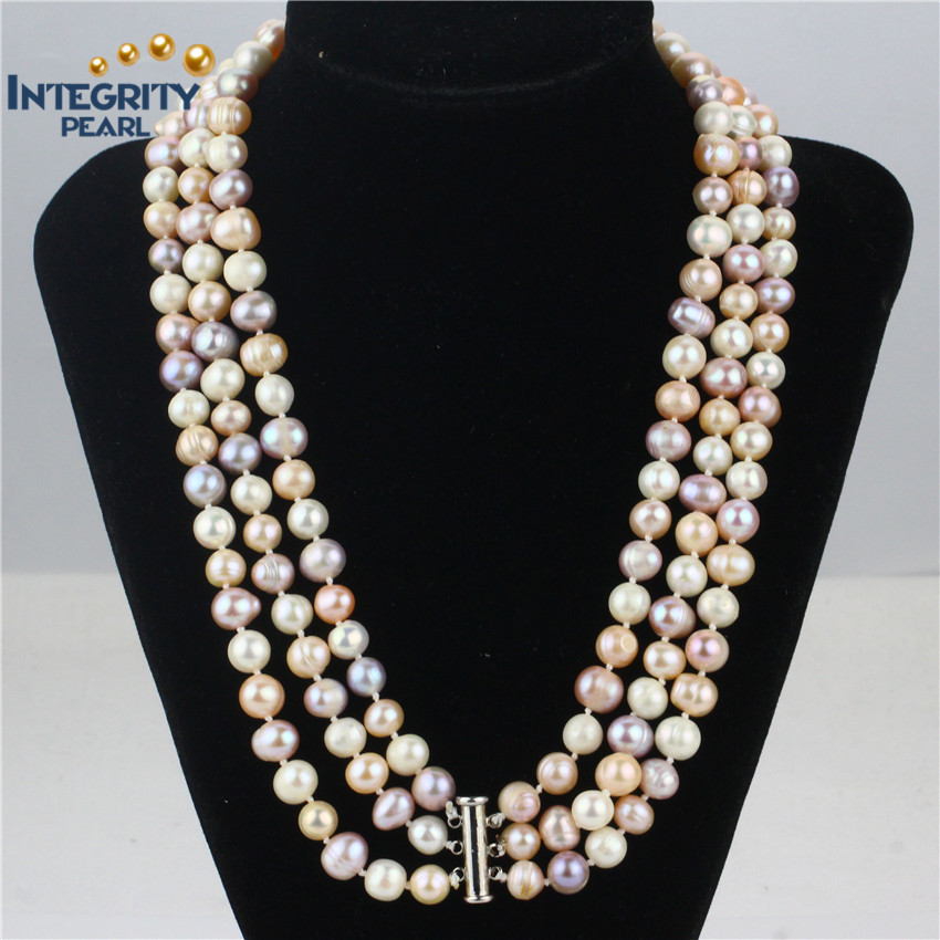 wholesale multi strand pearl necklace grade A 8-9mm potato 3 rows pearl necklace