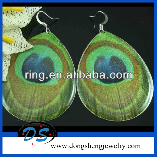 peacock feather enamel alloy dangle Earrings