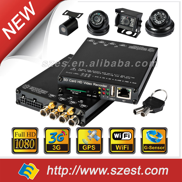 Mini CCTV 4CH 1080P Realtime SD Card Mobile Bus Car Vehicle DVR Recorder System Audio