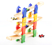 New Design Wooden Sliding Cars Four Layers Track Cars Game